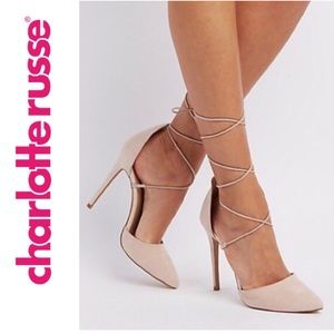 Charlotte Russe [Nude] Ankle-tie Lace-up Stilletos